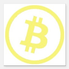 "Bitcoin Logo Yellow 1000 Square Car Magnet 3"" x 3"""