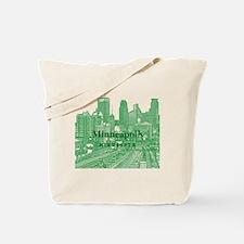 Minneapolis_10X10_v1_Downtown_Green Tote Bag