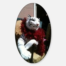 White Tiger with a Feather Boa Sticker (Oval)