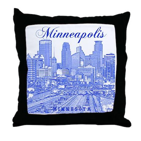 Minneapolis_10x10_Downtown_Blue Throw Pillow