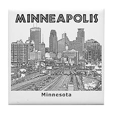 Minneaplis_12X12_Downtown_Black Tile Coaster