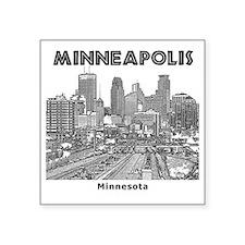 """Minneaplis_12X12_Downtown_B Square Sticker 3"""" x 3"""""""