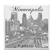 Minneapolis_10x10_Downtown_Black Tile Coaster