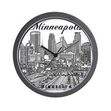 Minneapolis_10x10_Downtown_Black Wall Clock