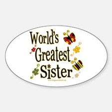 Sister Butterflies Oval Decal