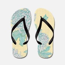 Chrysanthemums and Butterflies Cream Flip Flops