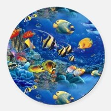 Tropical Fish Round Car Magnet
