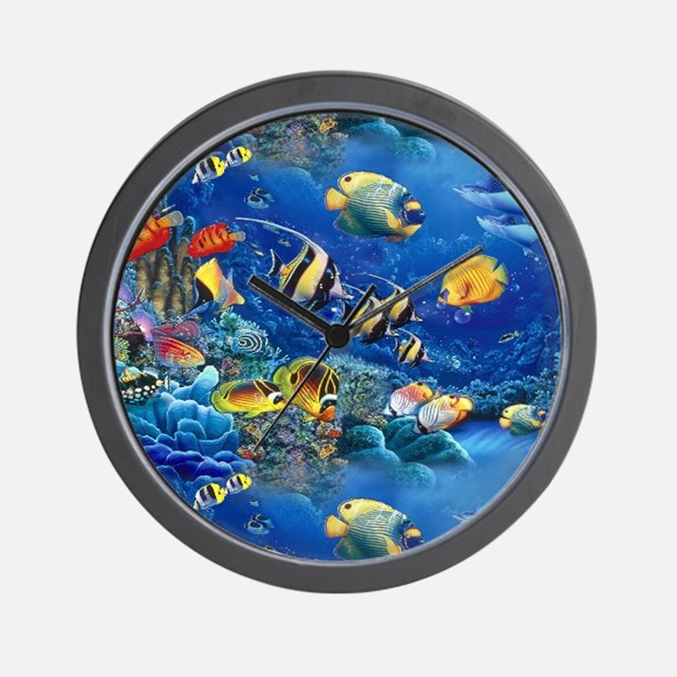 Tropical fish clocks tropical fish wall clocks large for Fish wall clock