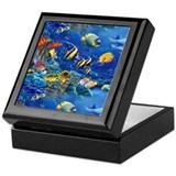 Tropical fish Square Keepsake Boxes
