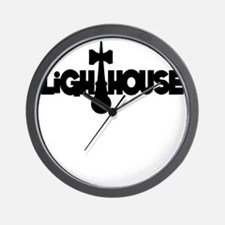 black Lighthouse1 with tag Wall Clock