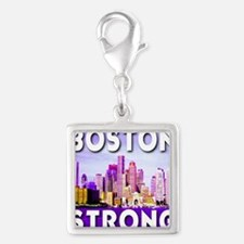 Boston Strong Skyline Silver Square Charm