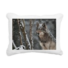 Snowy Lone Wolf Rectangular Canvas Pillow