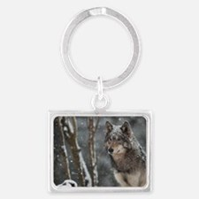 Snowy Lone Wolf Landscape Keychain