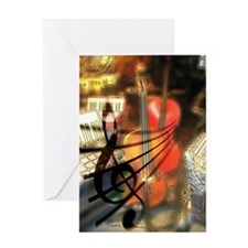 Violin in Abstract Artwork Design Greeting Card