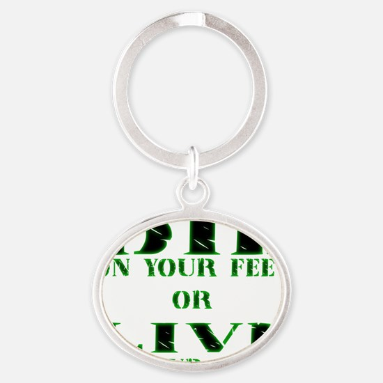 Die or Live Green Oval Keychain