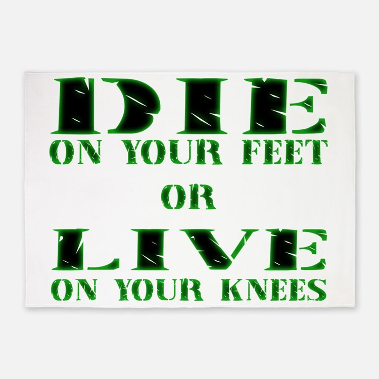 Die or Live Green 5'x7'Area Rug