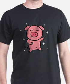 Cute and Happy Pink Piggy with Sparkl T-Shirt