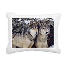 Wolf Couple Rectangular Canvas Pillow