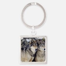 Wolf Couple Square Keychain