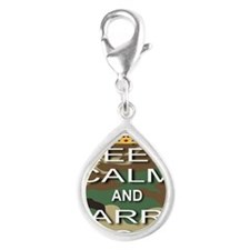 Keep Calm and Carry A Gun Silver Teardrop Charm