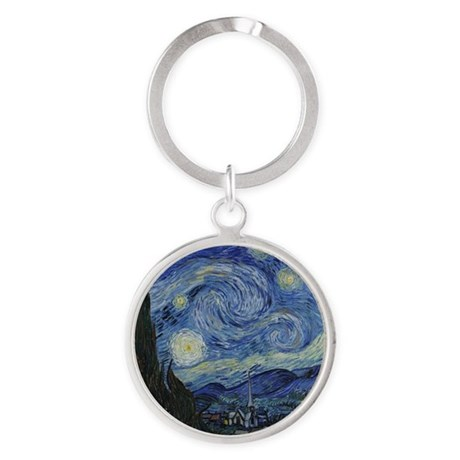Vincent Van Gogh Starry Night Round Keychain