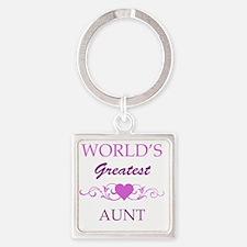 Worlds Greatest Aunt (purple) Square Keychain