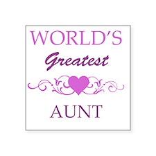 "Worlds Greatest Aunt (purpl Square Sticker 3"" x 3"""