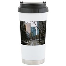 Wet Street in Downtown  Travel Mug