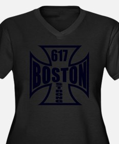 Boston Pride Women's Plus Size Dark V-Neck T-Shirt