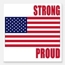 """boston strong(blk) Square Car Magnet 3"""" x 3"""""""