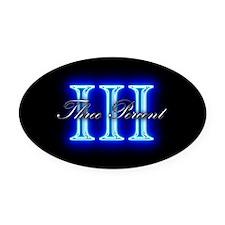 Three Percent Glow Oval Car Magnet