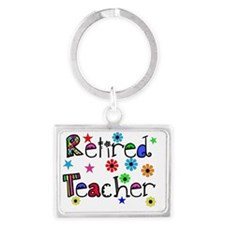 retired teacher stars flowers Landscape Keychain