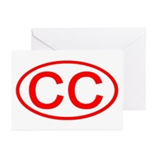 CC Oval (Red) Greeting Cards (Pk of 10)