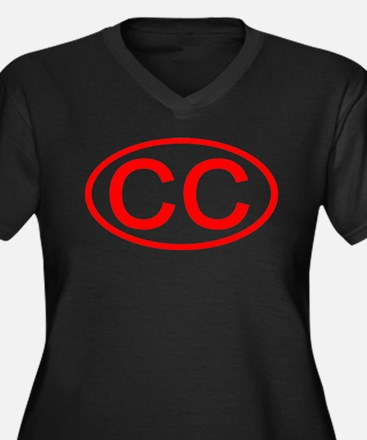 CC Oval (Red) Women's Plus Size V-Neck Dark T-Shir