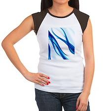 Blue Abstract Flames Women's Cap Sleeve T-Shirt