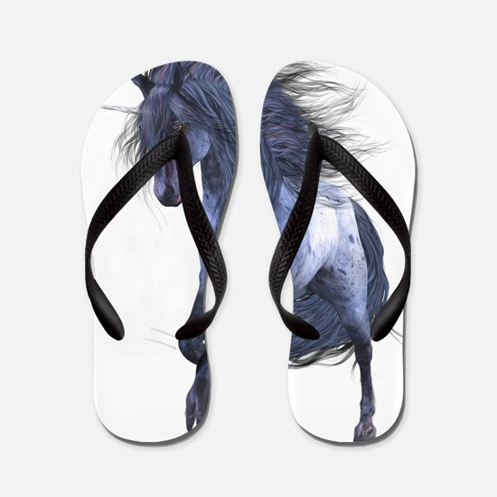 Blue Unicorn Flip Flops