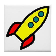 yellow rocket Tile Coaster