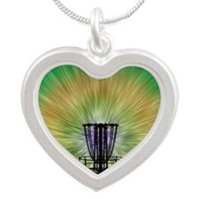 Tie Dye Disc Golf Basket Silver Heart Necklace