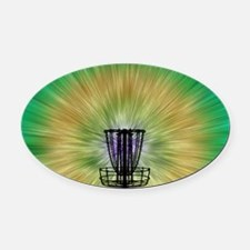 Tie Dye Disc Golf Basket Oval Car Magnet