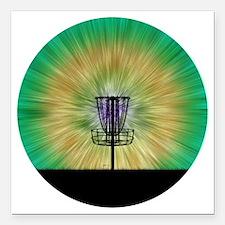 "Tie Dye Disc Golf Basket Square Car Magnet 3"" x 3"""