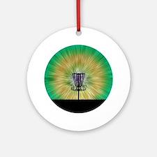 Tie Dye Disc Golf Basket Round Ornament