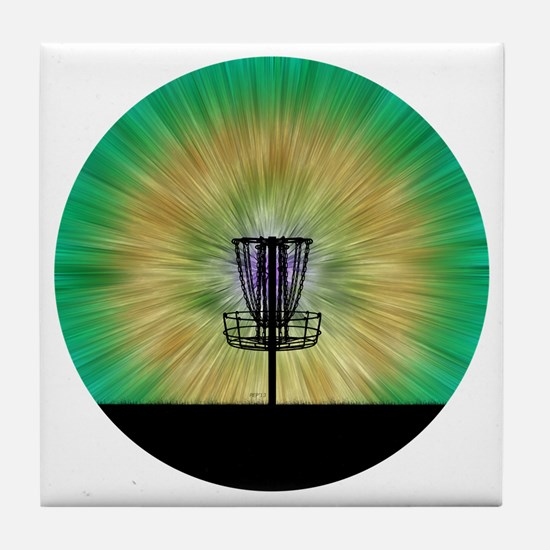Tie Dye Disc Golf Basket Tile Coaster