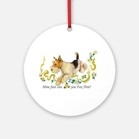 Fox Terrier Frolic Ornament (Round)