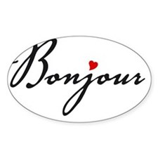 Bonjour with red heart Decal