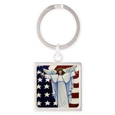 Angel of the USA Square Keychain