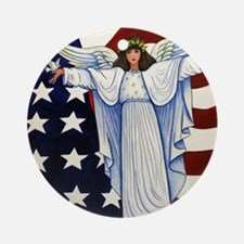 Angel of the USA Round Ornament