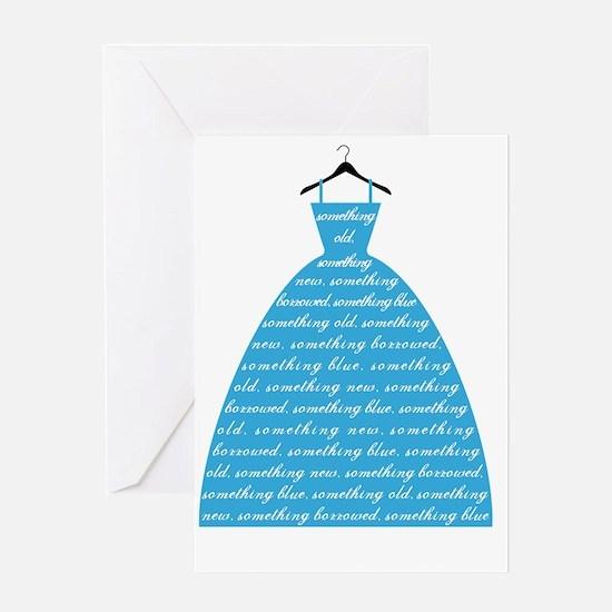 something blue, wedding dress, brida Greeting Card