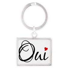 Oui, French word art with red h Landscape Keychain