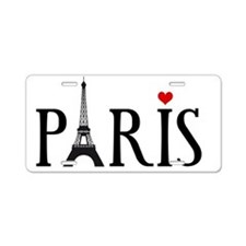 Paris with Eiffel tower and Aluminum License Plate