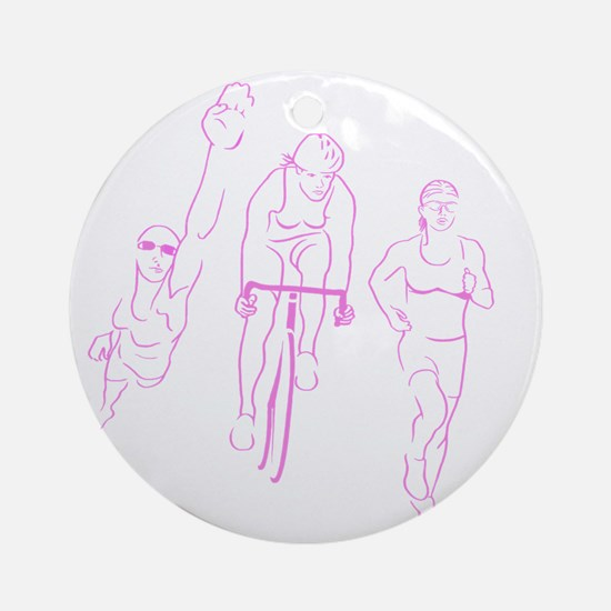 Triathlon Woman Round Ornament